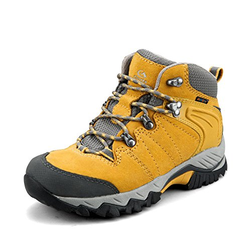Clorts Women's Hiker Leather Waterproof Hiking Boot Outdoor Backpacking Shoe Yellow HKM-822F US7.5 ()