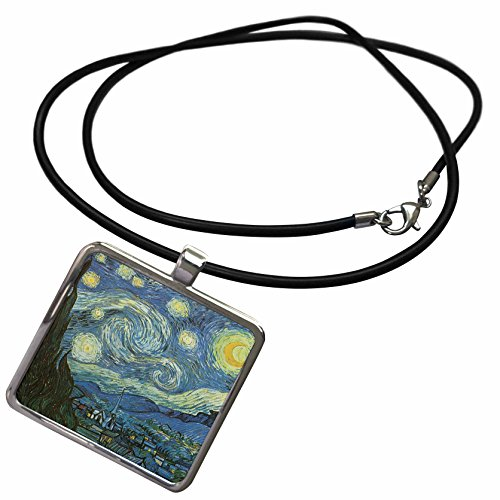 3dRose PS Vintage - Starry Night Vintage Van Gogh - Necklace with Rectangle Pendant (ncl_108577_1) -