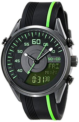 SO&CO New York Men's 5044.5 SoHo Quartz Analog Digital Rubber Strap Watch (Digital Blue Dial Rubber Strap)