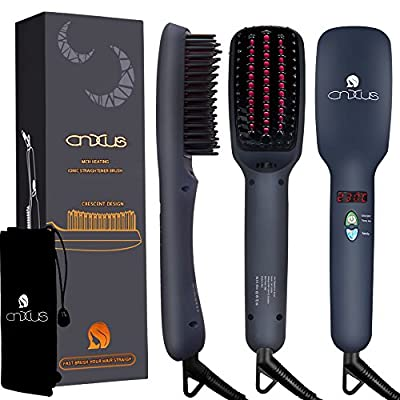 Hair Straightener Brush, CNXUS MCH Ceramic Heating Hair Straightening Ionic Brush, Frizz-Free Hair Care for Silky Straight Hair Styling, LCD Display, Adjustable Temperature, Anti Scald, Portable