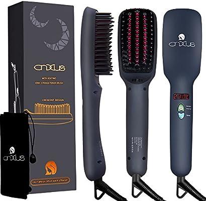 Cepillo de pelo alisador iónico, cepillo alisador por calor cerámico, pantalla LED + temperaturas ajustables + antiquemaduras, peine térmico para alisa, sedoso, cuidado del cabello, antiencrespamiento, portátil, de CNXUS MCH: Amazon.es: Belleza