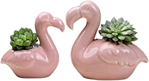 Vpang Creative Pink Flamingo Succulent Plants Pots Ceramic Planter Pots Mini Flower Pots Containers, Pack of 2