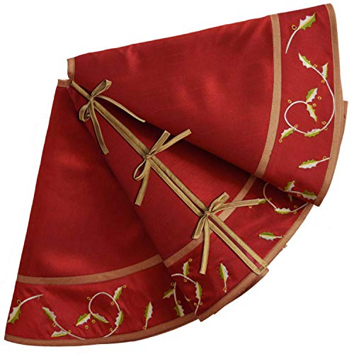 Art Secret 50 inch Red Christmas Tree Skirt with Holly Leaves (Tree Gold Red Christmas Skirt And)
