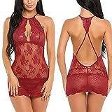 Avidlove Women Babydoll Lingerie Lace Chemise Halter Nightwear Teddy Dress Dark Red M
