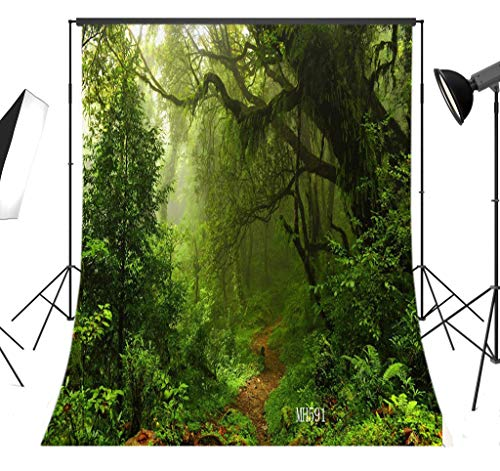 LB Jungle Forest Background for Photography 5x7ft Vinyl Virgin Forest Photo Backdrop for Birthday Party Wedding Event Portraits Photo Booth Background ()