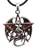 Pentagram Star Dragon Pewter Pendant Necklace