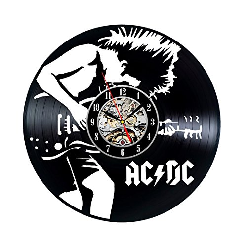 AC DC Vintage Handmade Vinyl Record Clock Gift For Sale