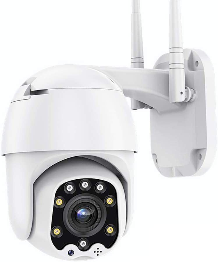 Outdoor PTZ WiFi Wireless IP Security Camera 1080P Home Surveillance Camera Pan/Tilt Two-Way Audio Motion Detection Color Night Vision SD Recording AT-200DW White
