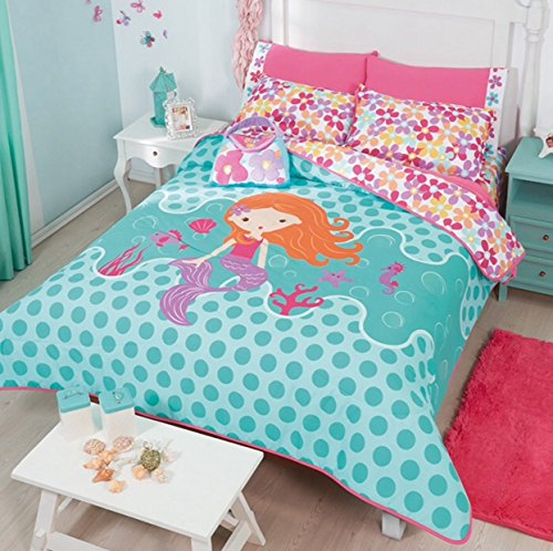 LIMITED EDITION LITTLE MERMAID KIDS GIRLS REVERSIBLE COMFORTER SET AND EMBROIDERED SHEET SET 8 PCS FULL SIZE by JORGE'S HOME FASHION (Image #1)