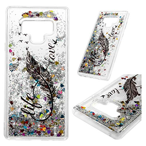 Galaxy Note 9 Clear Glitter Liquid Cover Printed Quicksand Bling Shiny Sparkle Moving Flowing Heart Shockproof Drop Resistant Flexible Soft TPU Bumper Slim Protector for Samsung Galaxy Note 9 Feathers