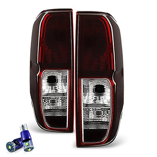 VIPMOTOZ Smoke Red Lens OE-Style Tail Light Lamp Assembly For 2005-2014 Nissan Frontier - CREE LED Backup Bulbs Included, Driver & Passenger Side