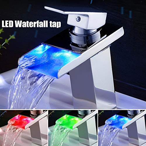 3 Color LED Brass Finish Waterfall Basin Faucet Chrome Polished Single Handle Faucet Bathroom Bathtub Sink Mix Tap Cold and Hot ()