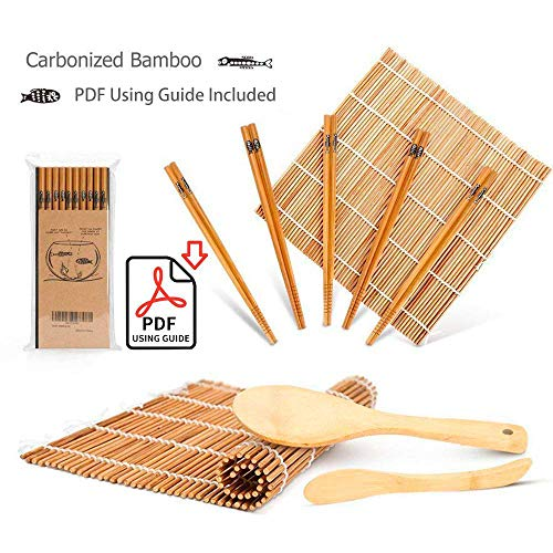 (Bamboo Sushi Kit, Carbonized Rolling Mats for Mold-Resistant, Included 2 Rolling Mats - 5 Pairs Chopsticks - Paddle - Spreader - Beginner's Guide (PDF), Roll on! Beginner Sushi Making)