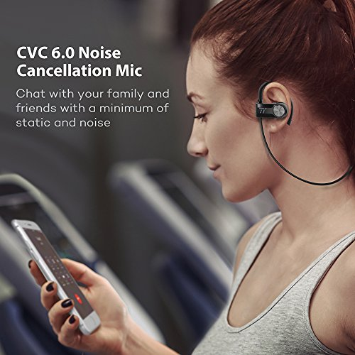 Large Product Image of Bluetooth Earbuds, TaoTronics Sport Headphones with Adjustable Earhooks, Wireless Earphones for Workout (IPX6 SweatProof, aptX Lossless Sound, 8 Hours Playtime, cVc 6.0 Noise Cancelling Microphone)