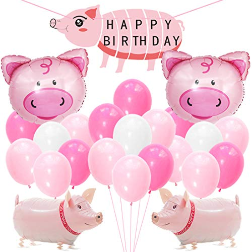 KREATWOW Pig Birthday Party Decorations Supplies Walking Pig Balloons Happy Birthday Banner for Girls Birthday Baby Shower