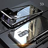yodaliy Magnetic Cell Phone Case, Full Body Ultra-Thin Mobile Phone Case - Tempered Glass Clear Back - Magnetic Metal Frame for Samsung S9, S9 Plus, S8, S8 Plus. (for Samsung S8 Plus,Black)