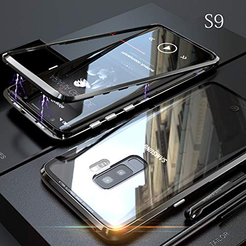 yodaliy Magnetic Cell Phone Case, Full Body Ultra-Thin Mobile Phone Case - Tempered Glass Clear Back - Magnetic Metal Frame for Samsung S9, S9 Plus, S8, S8 Plus. (for Samsung S9 Plus,Black) by yodaliy