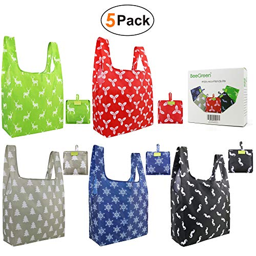 Reusable-Bags-Recycle-Green-Big-Bags 5 Pack Bulk with Small Pocket Folded Recycled Totes Cute Gifts Bags Reusables Reuse Cloth Grocery Bags Sturdy Lightweight Ripstop Environmental (Christmas 5 Pack)