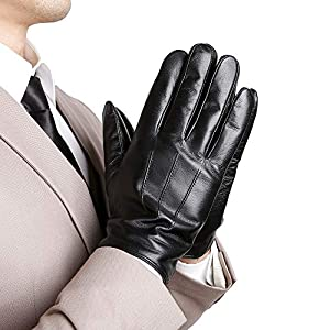 KEGE Men's Classic Texting Driving Touchscreen Italian Nappa Genuine Leather Gloves (Cashmere/Wool or Fleece Lining)
