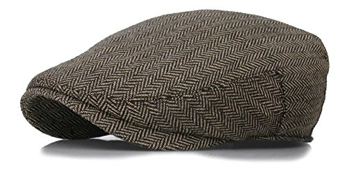 Deewang Fashion Men's Herringbone Tweed Newsboy Driving Cabbie, Ivy Flat Cap S/M L/XL (L/XL, Light Brown) (Brown Driving Cap)
