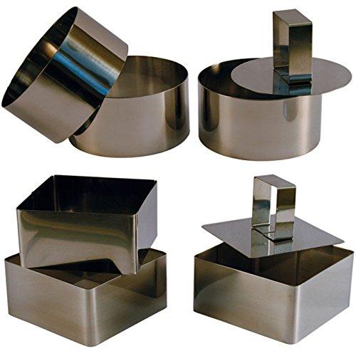 3 Cercles de présentation Inox avec poussoir + 3 Carrés de présentation Inox avec poussoir - 8 CM