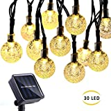 HTLY SPR Garden Solar String Lights 20ft/6m 30 LED Solar Powered Fairy Lights Waterproof Outdoor/Indoor Wire Decorative Lighting for Patio Yard Party Wedding Christmas (Warm White)