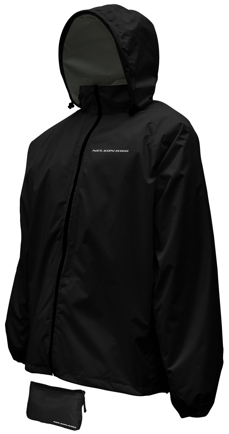 Nelson-Rigg Unisex-Adult Waterproof Compact Pack Jacket Black, X-Large (