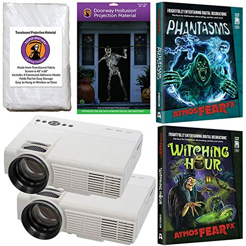 AtmosFearFx Halloween Digital Decoration Kit Includes: (Qty 2) Projectors + (1) Hollusion Door + (1) Reaper Bros Window Projection Screens + Shades of Evil + Night Stalkers DVD's