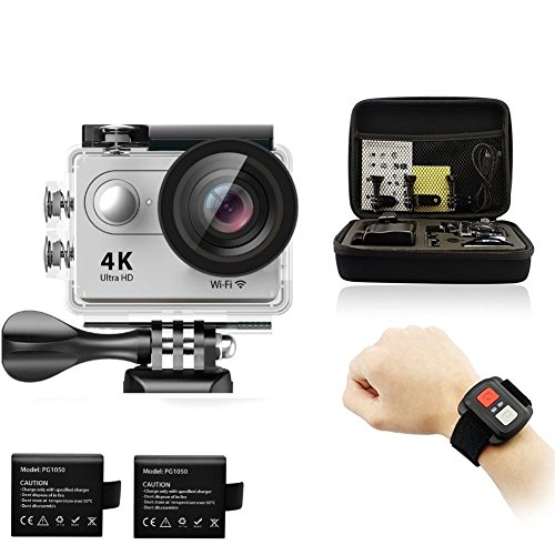Legazone 4K HD Action Camera 2.4G RF Remote Control 12MP Sports Video WiFi 170° Fisheye Cam Helmet, Underwater Snorkelling Camera Camcorder (Silver)