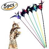Cat Feather Toys with Bells Interactive Stick Catcher Short Rod Kitten Teaser (5Pcs)
