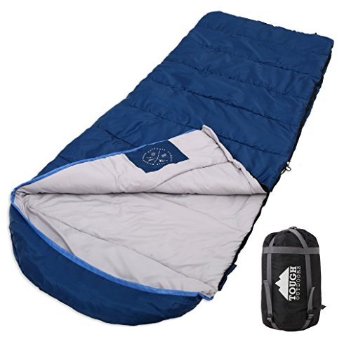 All Season XL Hooded Sleeping Bag with Compression Sack - Perfect for Camping, Backpacking, Hiking. Temperature Range 32-60F. Fits Adults up to 6'6. Tough Ripstop Waterproof Shell & High-Loft Fill
