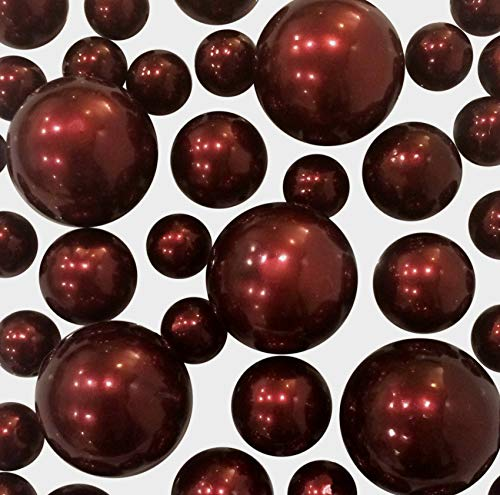 No Hole Burgundy Pearls - Jumbo/Assorted Sizes Vase Decorations - to Float The Pearls Order The Floating Packs from The Options Below -