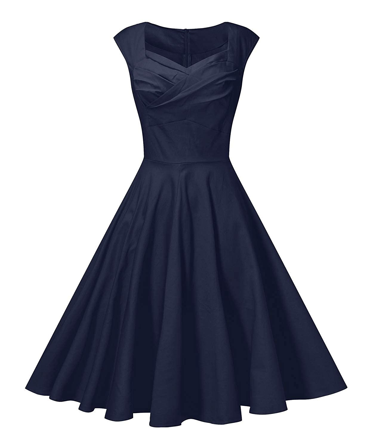 Deep bluee PENGEE Women's Retro 1950s Vintage Party Swing Dress Cap Sleeve Cocktail Dress
