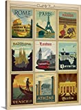 Anderson Design Group Premium Thick-Wrap Canvas Wall Art Print entitled World Travel Collection I - Retro Travel Posters