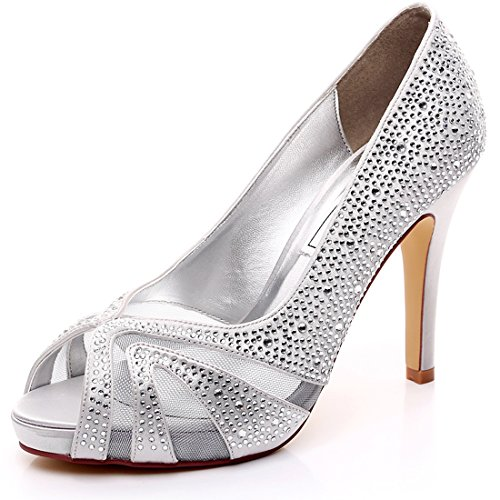 LUXVEER White Lace with Silver Rhinestone Ladies Dress Shoes Medium Heel 4inch-Peep Toe (Silver)US9-EUR40