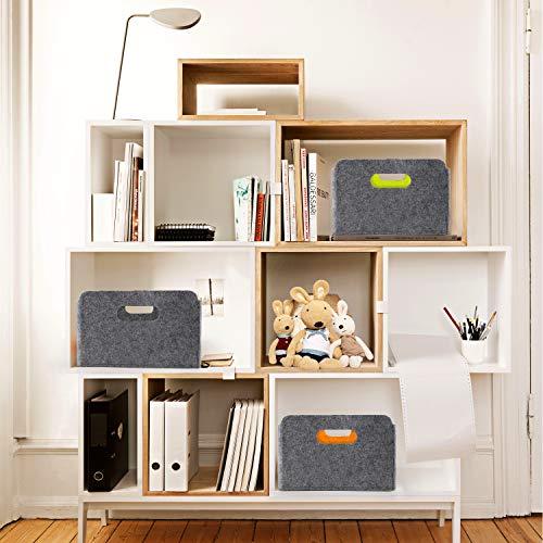 WELAXY storage basket Felt Foldable Drawer Organizer bin Cube Shelf Small box for for Kids Toys Magazine Books Clothes Office Bedroom Closet Babies Nursery Laundry organizing (Charcoal)
