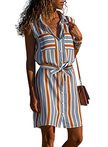 Asvivid Womens Lapel V-Neck Multicolor Striped Ladies Button Up Pocket Front Work Party Sundress Plus Size 1X Orange (Dresses Plus Size Sale)