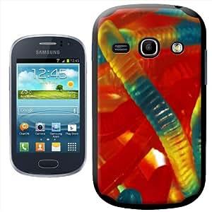 Fancy A Snuggle - Carcasa para Samsung Galaxy Fame S6810, diseño de gusanos de gominola, color rojo, amarillo y verde