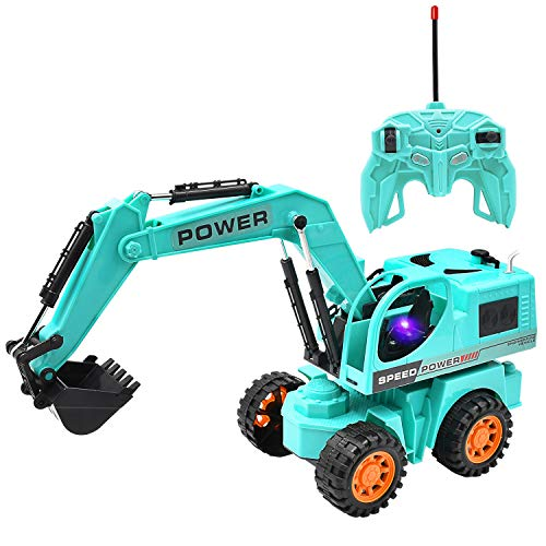 (Jeestam RC Excavator Toy Car for Kids, 2.4GHz Remote Control Full Function Demonstration Excavator Construction Vehicles Sand Tractor Truck with Lights & Sound, Best Gift for Toddler Boys (Blue))
