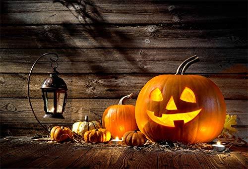 LFEEY 10x8ft Autumn Halloween Decoration Backdrop Vinyl Funny Pumpkins Jack-O-Lantern Wooden Wall Photography Background Hallowmas Party Festival Photo Studio Props