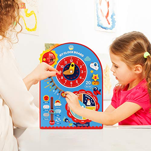 Jamohom Kids All About Today Calendar Board-Wooden Shape Sorting Clock-Preschool Educational & Learning Wooden Toy Busy Board Gifts for Toddlers Boys and Girls 1 2 3 Year Old .