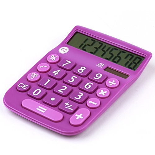 Office+Style 8 Digit Dual Powered Desktop Calculator, LCD ...
