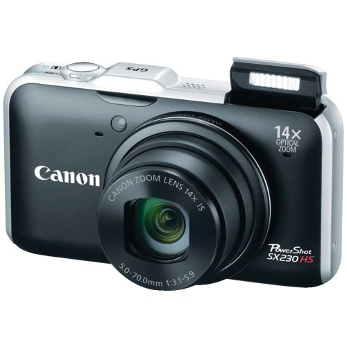 Canon PowerShot SX230 HS 12.1 MP CMOS Digital Camera with 14x Image Stabilized Zoom 28mm Wide-Angle Lens and 1080p Full-HD Video (Black) (OLD MODEL)