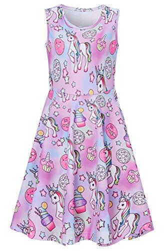 RAISEVERN Big Girl's Pink Unicorn Dress Sleeveless Sundress Cute Round Neck Rainbow Ice Cream Dresses Summer Holiday Beachwear for Child -