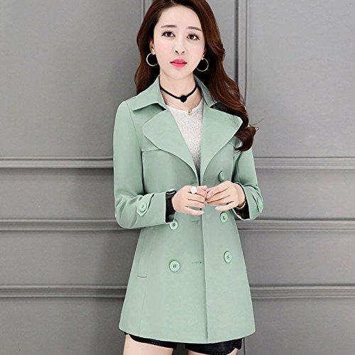 Mayihang chaqueta Judías temperamento doble delgada de Corto tamaño chica botonadura verdes anorak awIqWvd