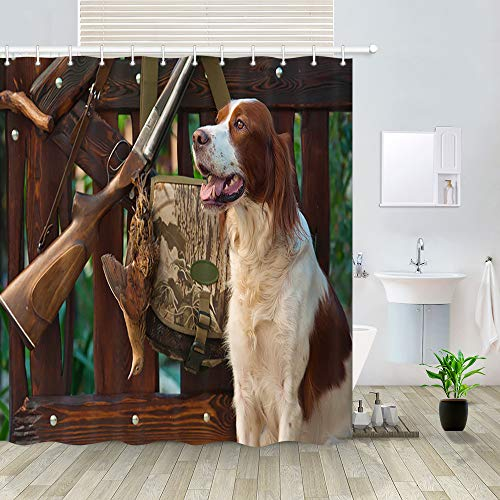 NYMB Hunting Dog Shower Curtain, Cute Brittany Dog with Trophies Pedigreed Hunted Duck, Western Cowboy Rifle Gun on Wooden Fence, Rustic Fabric Shower Curtain, Countryside Bath Curtains, 69X70in ()