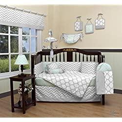GEENNY Boutique Baby Unisex 13 Piece Crib Bedding Set, Soft Mint Green/Gray Chevron
