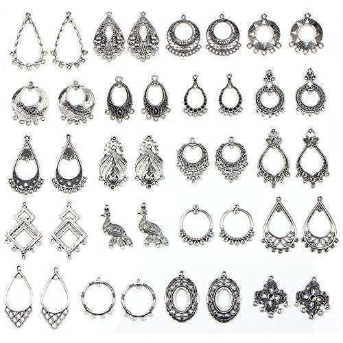 Youkwer Antique Silver Earring Chandelier Earring Jewelry Making Kit for Earring Drop and Charm Pendant Jewelry Findings Accessories Assorted Pack (30 Pair Earring Base Charms)