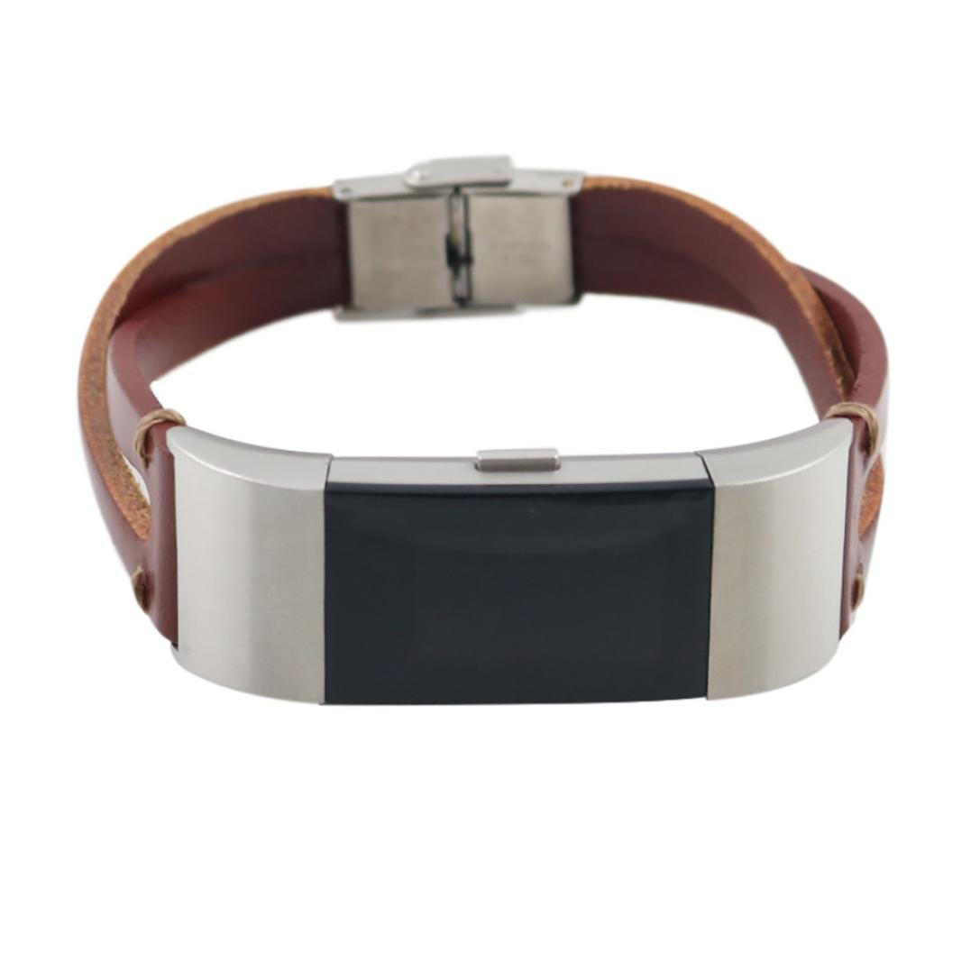 RTYOu for Fitbit Charge 2 Watchバンド、2018ホット交換本革リストバンドバンドストラップブレスレットfor Fitbit Charge 2  ブラウン B07F8VQBK6