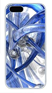 3D blue piping custom made iphone 5 case PC White for Apple iPhone 5/5S